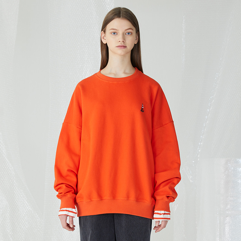 Rubber Corn Layered Sweatshirts - Orange