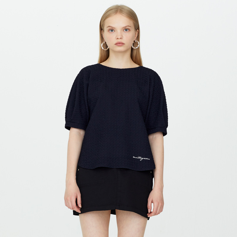 Double Faced Ripple Blouse - Navy