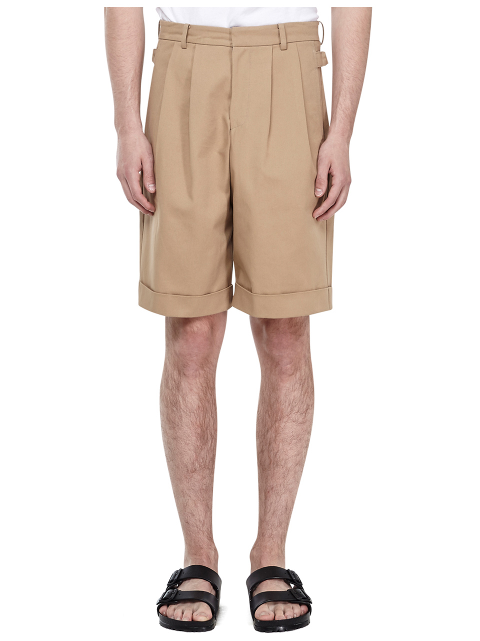 Two Tuck Wide Shorts - Baige