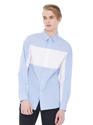 Striped Whiteblock Shirts - Light Blue
