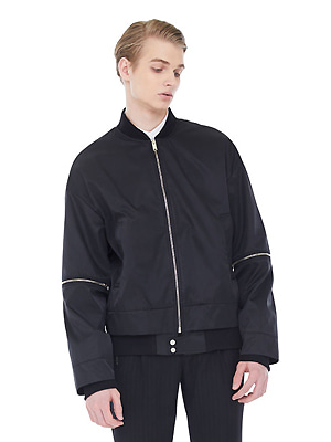 Overlap bomber jacket(Men) - Black
