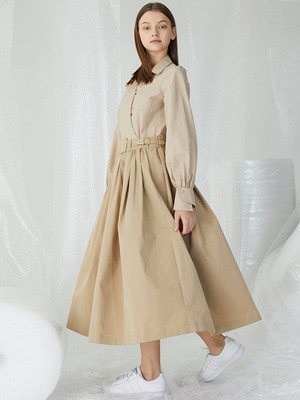 [오승아 착용]Flounts Belt Skirt - Beige