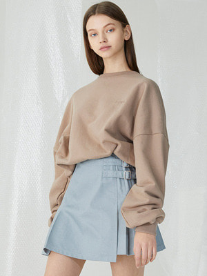 Double Belt Pile Miniskirt - Light Gray