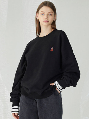Rubber Corn Layered Sweatshirts - Black